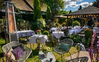Tables available outside in the Secret Garden